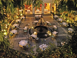 Courtyard to restaurant, Winchester Mansions, Cape Town, South Africa