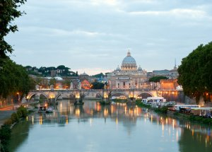 St Peters Basilica from Angelo Bridge